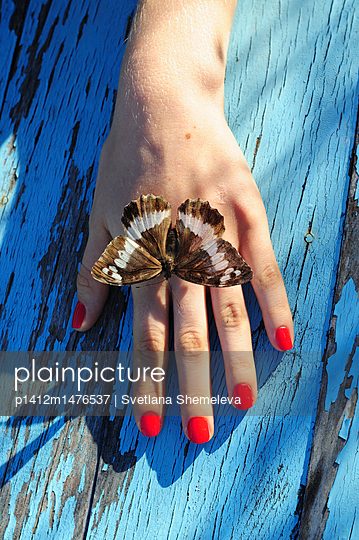 Butterfly on the girl's palm - p1412m1476537 by Svetlana Shemeleva