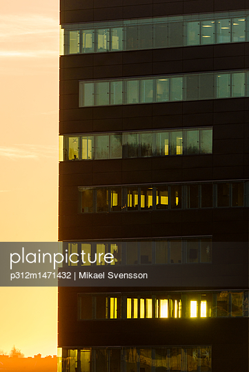 Office building at sunset - p312m1471432 by Mikael Svensson
