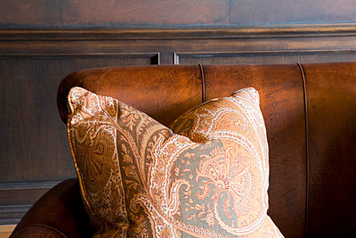 Orange Paisley Pillow - p5550587f by LOOK Photography
