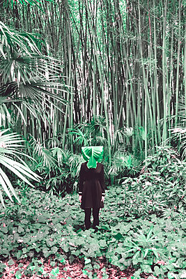 Woman in bamboo forest with banana leaf on her head - p1521m2228351 by Charlotte Zobel