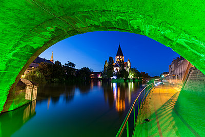 Temple Neuf and illuminated bridge in Metz, France - p1427m2077527 by Henryk Sadura