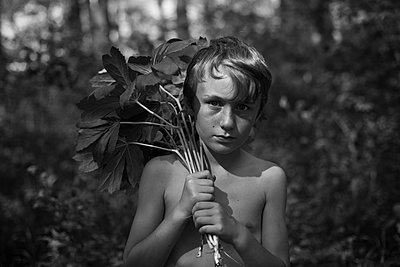 Boy with Mayapples - p1169m1463433 by Tytia Habing