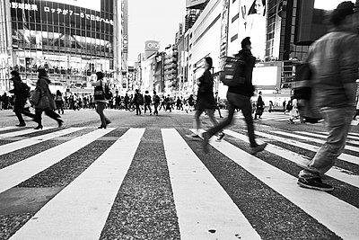 Pedestrians, zebra crossing in the foreground, Tokyo - p1686m2288523 by Marius Gebhardt