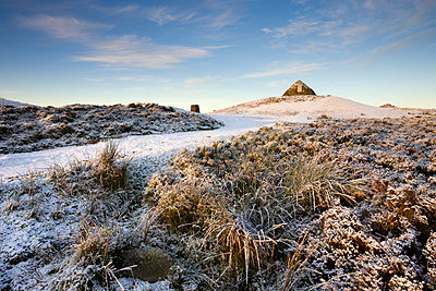 Dunkery Beacon on a snowy winter morning, Dunkery Hill, Exmoor National Park, Somerset, England, United Kingdom, Europe - p871m711368 by Adam Burton