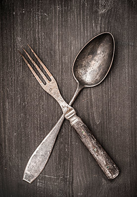 Old spoon and fork - p971m1452477 by Reilika Landen