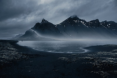 Vestrahorn mountain massif at night, Iceland - p1280m2168640 by Dave Wall
