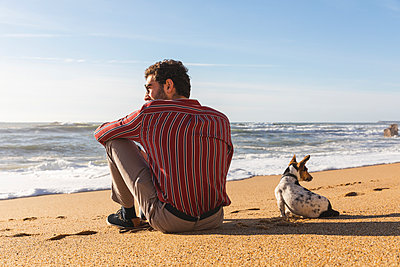 Portugal, Porto, back view of young man sitting on the beach with his dog - p300m2104241 by William Perugini