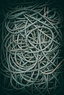 Rope blue cyan pile close up old from above nylon - p609m1219841 by OSKARQ