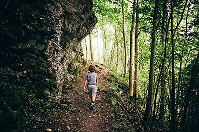 Rear view of boy walking dirt track in forest, Bludenz, Vorarlberg, Austria - p429m1105688 by JFCreatives