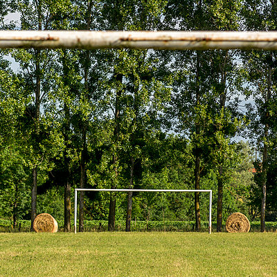 Abandoned football goal in the countryside. France. Europe. - p813m1055287 by B.Jaubert