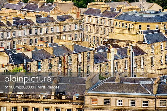 Tenement stone buildings in Edinburgh. - p1100m2300909 by Mint Images