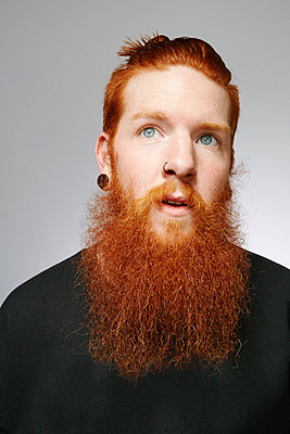 Studio portrait of young man with blue eyes, red hair and overgrown beard - p429m999574 by Stanton j Stephens