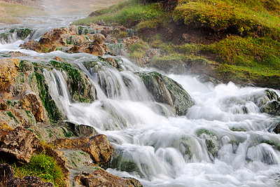 Small cascade waterfall, Myvatn, Iceland - p343m2046980 by Ashley Cooper