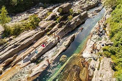 The river at Valle Verzasca village near Locarno from above - p1332m1491273 by Tamboly