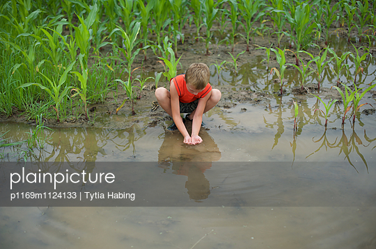 Boy Catching Tadpoles - p1169m1124133 by Tytia Habing