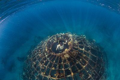 Man diving underwater, Perebutan, Bali, Indonesia - p1166m2202323 by Konstantin Trubavin