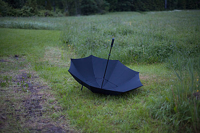 Upside down umbrella in grassy field - p301m1406427 by Isabella Ståhl