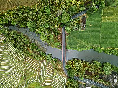 Autobrücke und Felder, Luftaufnahme - p1108m2141982 von trubavin