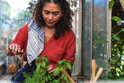 Mature woman cutting plant while sitting in garden shed - p300m2221141 by Francesco Morandini