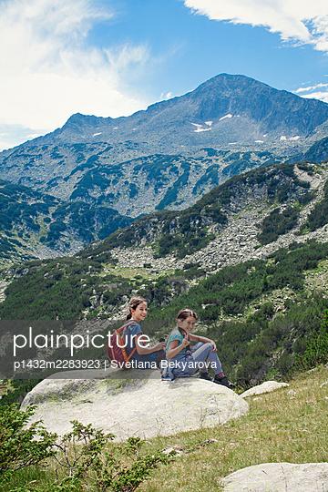 Bulgaria, Two girls in the mountains - p1432m2283923 by Svetlana Bekyarova