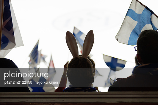 Finnish flag in the air - p1242m2122158 by teijo kurkinen
