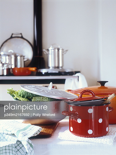Cabbage in saucepan on kitchen counter - p349m2167692 by Polly Wreford