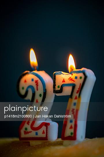 Birthday candles, 27 years - p1418m2100800 by Jan Håkan Dahlström