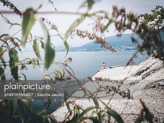 Junge Frau am ruhigen See im Sommer - p1497m1584607 von Sascha Jacoby
