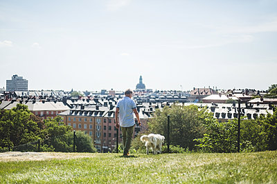 Full length of man walking with dog on field in city against sky - p426m2046367 by Maskot