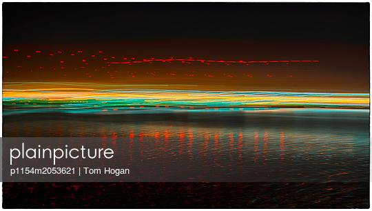 Harbor Lights Abstract - p1154m2053621 by Tom Hogan