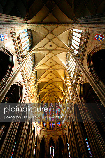 Ceilieng formed by intircate arches in the Saint Vitus Cathedral. Prague, Czech Republic.