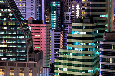 High rise buildings of Bangkok at night from Rembrandt Hotel and Towers - p871m838787 by Lee Frost