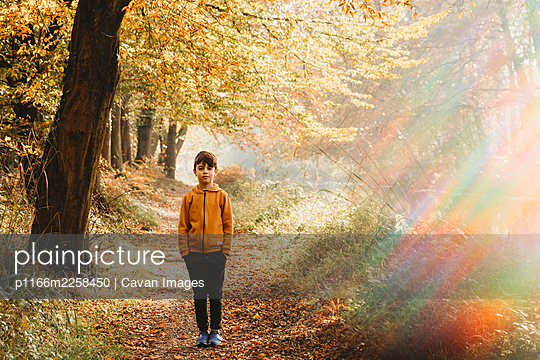 Boy standing on path under tree with rainbow light flare - p1166m2258450 by Cavan Images