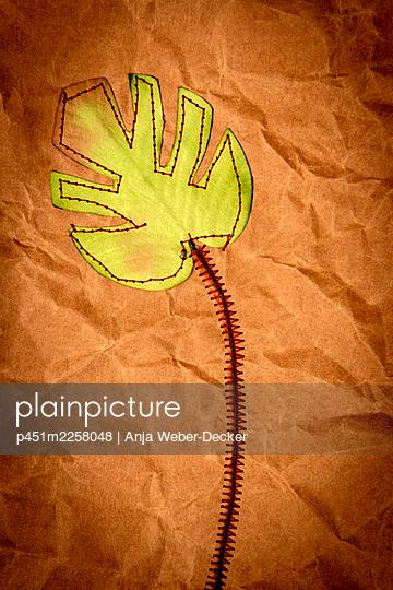 Sewed leaf - p451m2258048 by Anja Weber-Decker