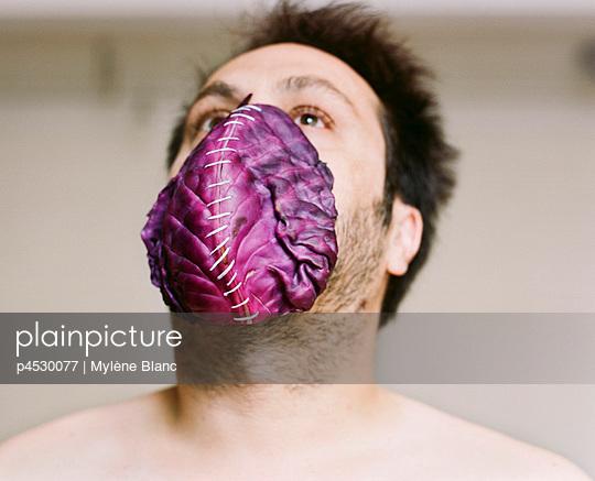 Man with salad muzzle - p4530077 by Mylène Blanc