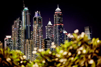 Downtown skyscrapers at night - p312m1025079f by Magnus Ragnvid
