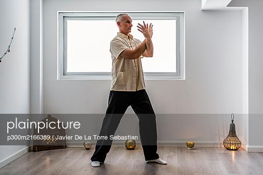 Man practicing martial arts in gym - p300m2166389 by Javier De La Torre Sebastian