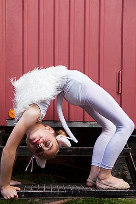 Zirkuskatze macht Gymnastik - p045m1154729 von Jasmin Sander