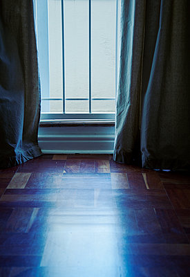 Curtains Against Parquet Floor  - p1248m1503212 by miguel sobreira