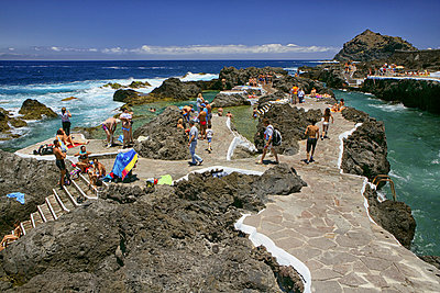 Natural Rock Pools In The Coast Of The Town Of Garachico In The Northern Part Of The Canary Island Of Tenerife, Spain - p343m1223778 by David Santiago Garcia
