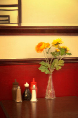 Table in cafe with vase of flowers - p597m793908 by Tim Robinson