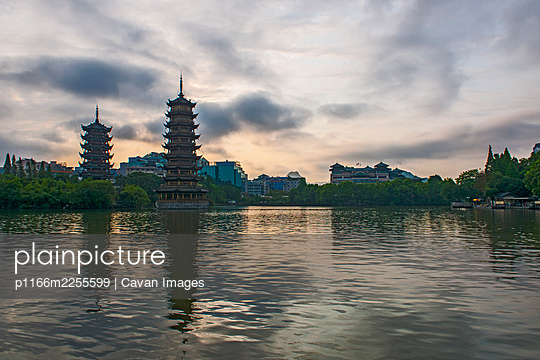 Pagoda's at the lake in the the centre of Guilin / China - p1166m2255599 by Cavan Images