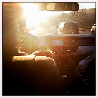 On the highway, traffic, Backlit, Bavaria, Germany - p300m1009975 by Gerald Staufer
