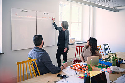 Female engineer writing on whiteboard while explaining colleagues sitting at table in office - p426m2018634 by Maskot