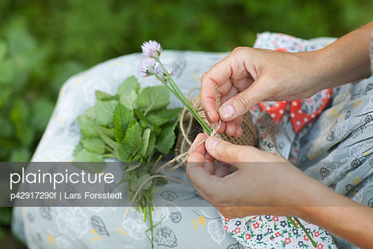 Woman tying string around flowers - p42917290f by Lars Forsstedt