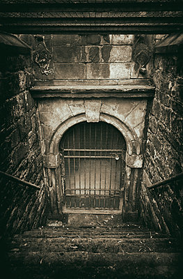 Dungeon cellar doorway old locked spooky steps - p609m1219849 by OSKARQ