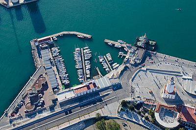 Aerial view of Spanish marina - p555m1479701 by Chris Sattlberger