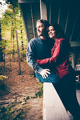 Lake George Fall Couples Portrait  - p1086m1488772 by Carrie Marie Burr