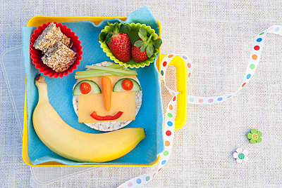 Healthy food products made into smiley face - p429m819876f by Luka photography