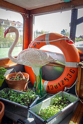 Dekoflamingo auf einem Hausboot - p1513m2087000 von ESTELLE FENECH